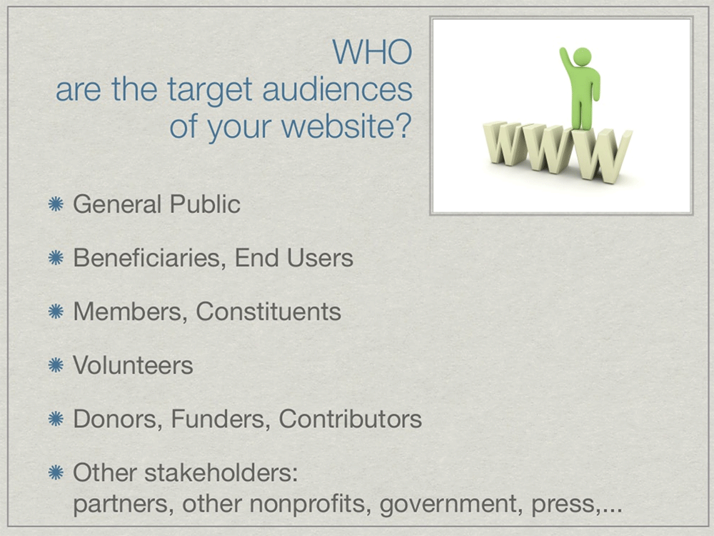 9 Tips for Improving your Nonprofit Website: Segment your audiences & list their needs