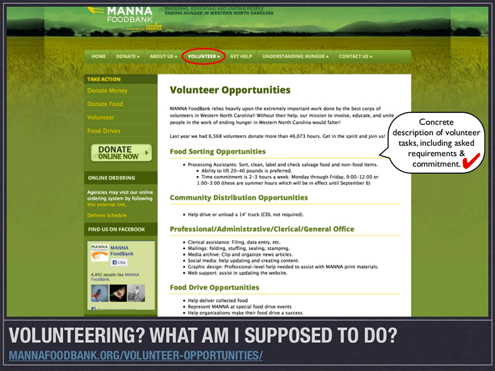 9 Tips for Improving your Nonprofit Website: Give a concrete description of volunteer tasks