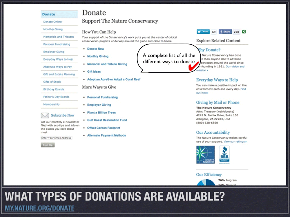 9 Tips for Improving your Nonprofit Website: Make it easy for people to donate