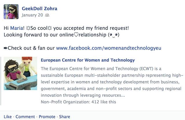 GeekDollZohraThanks_FacebookWall